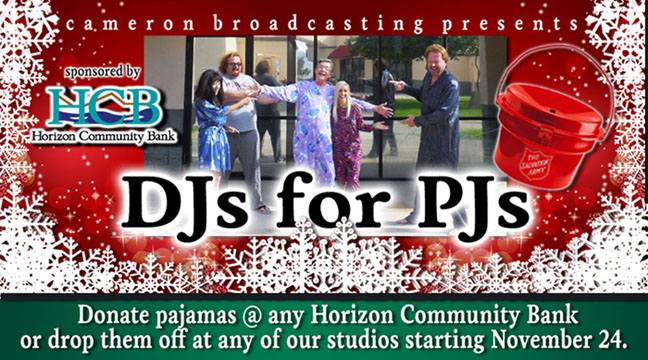 DJs for PJs - Presented by Cameron Boradcasting and Sponsored by Horizon Community Bank