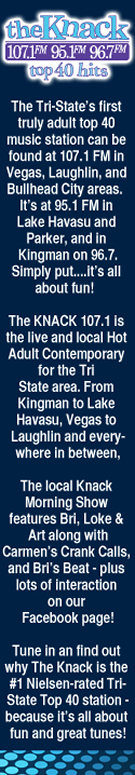 The Knack 107 FM is the Tri-State's first truly adult top 40 Music station